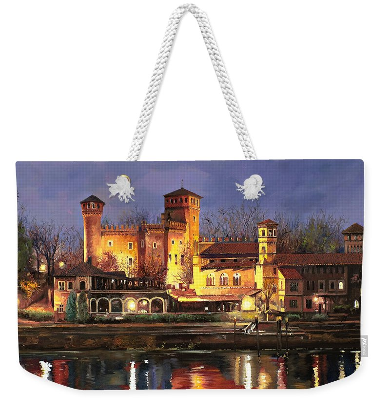 Castle Weekender Tote Bag featuring the painting Torino-il Borgo Medioevale Di Notte by Guido Borelli