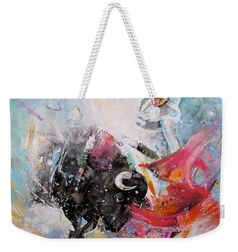 Animals Weekender Tote Bag featuring the painting Toro Tempest by Miki De Goodaboom