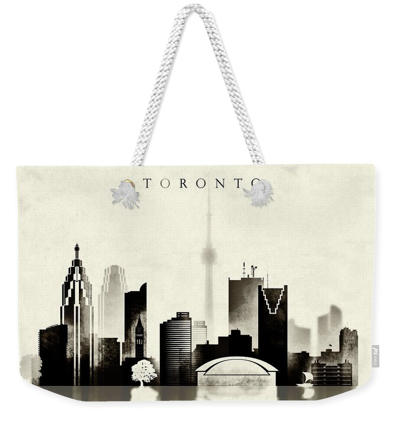 Toronto Weekender Tote Bag featuring the digital art Toronto Black And White by Dim Dom