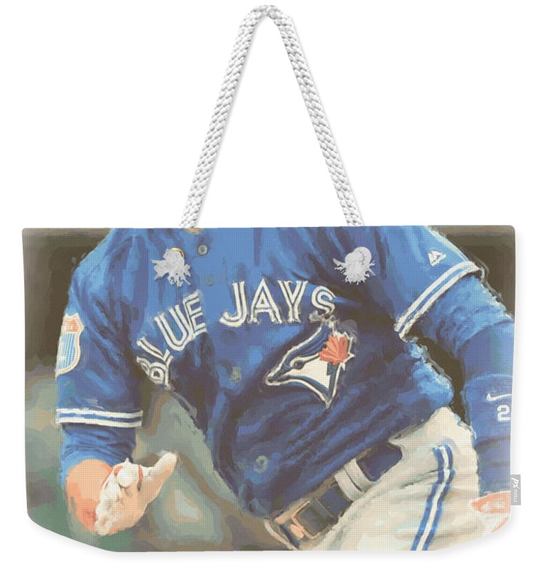 Troy Tulowitzki Weekender Tote Bag featuring the photograph Toronto Blue Jays Troy Tulowitzki by Joe Hamilton