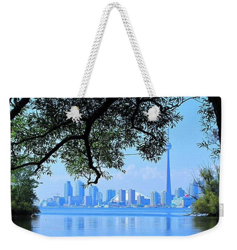 Cn Tower Weekender Tote Bag featuring the photograph Toronto Framed by Ian MacDonald
