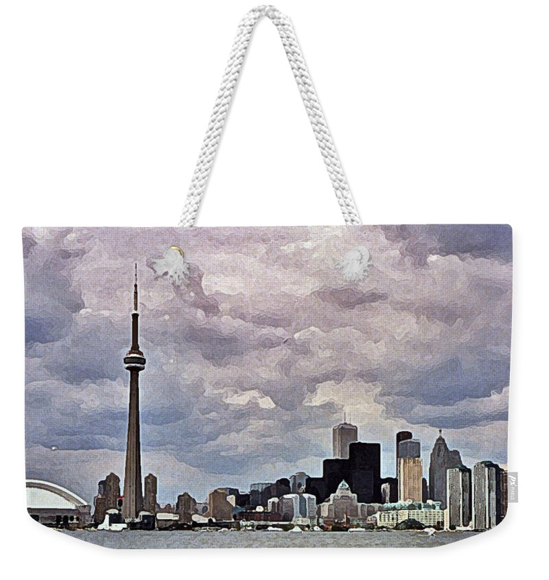 Canada Weekender Tote Bag featuring the digital art Toronto Skyline by Colette Panaioti