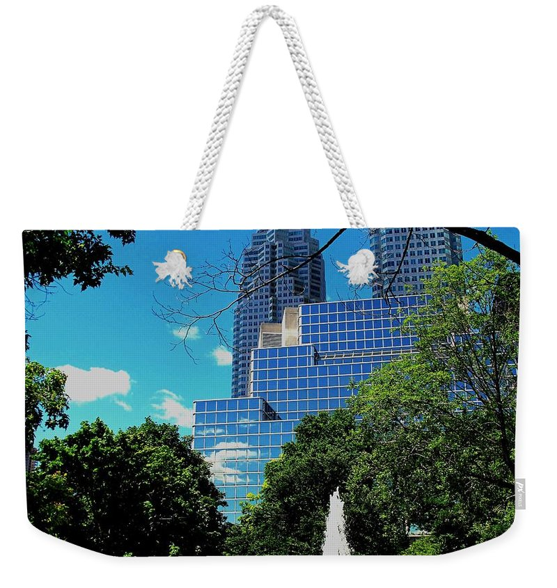 Park Weekender Tote Bag featuring the photograph Toronto Wellington Street Park by Ian MacDonald