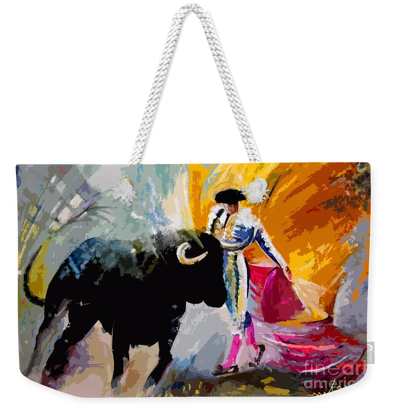 Toros Weekender Tote Bag featuring the mixed media Toroscape 03 by Miki De Goodaboom
