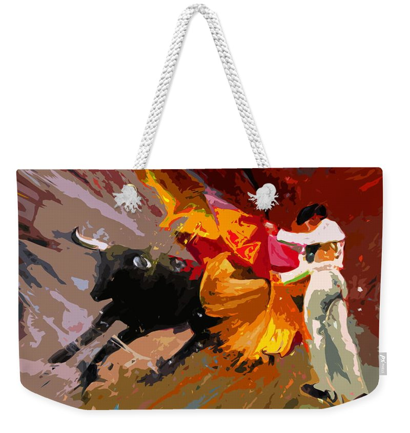 Animals Weekender Tote Bag featuring the painting Toroscape 04 by Miki De Goodaboom