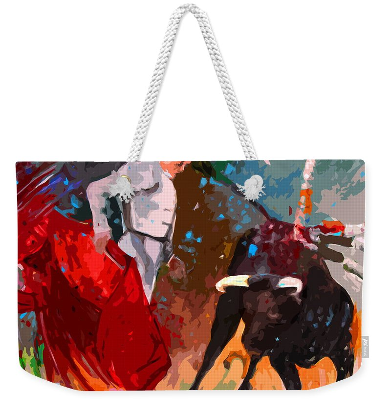 Bullfight Weekender Tote Bag featuring the painting Toroscape 05 by Miki De Goodaboom