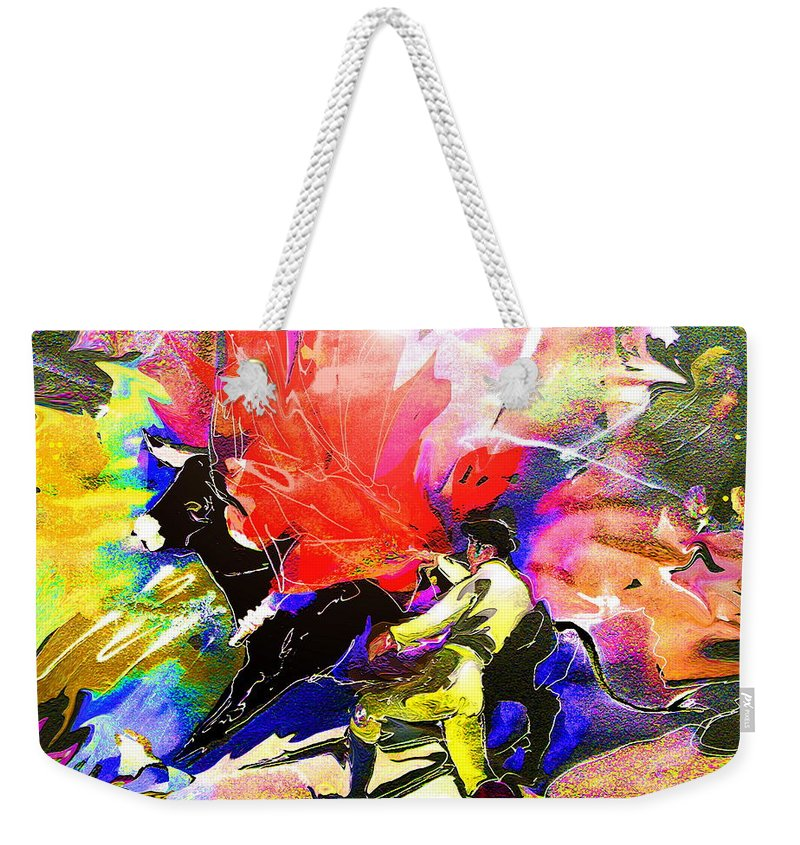 Animals Weekender Tote Bag featuring the painting Toroscape 06 by Miki De Goodaboom