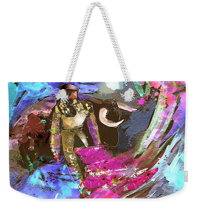 Animals Weekender Tote Bag featuring the painting Toroscape 07 by Miki De Goodaboom