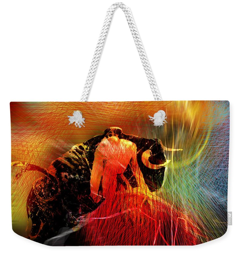 Toros Weekender Tote Bag featuring the painting Toroscape 19 by Miki De Goodaboom
