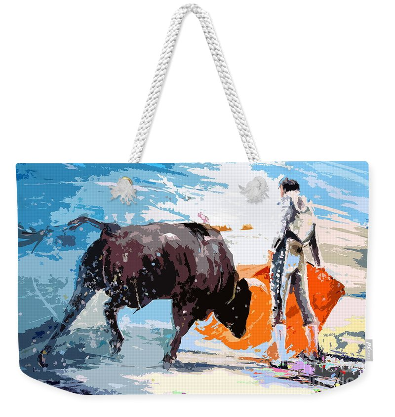 Bullfight Weekender Tote Bag featuring the painting Toroscape 37 by Miki De Goodaboom