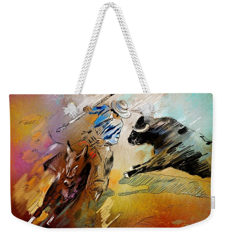 Bullfight Weekender Tote Bag featuring the painting Toroscape 42 by Miki De Goodaboom