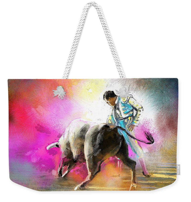 Animals Weekender Tote Bag featuring the painting Toroscape 44 by Miki De Goodaboom