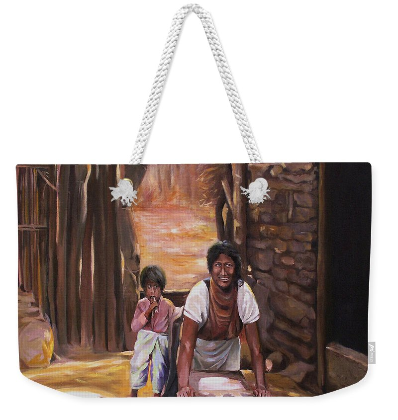 Mexican Weekender Tote Bag featuring the painting Tortillas De Madre by Nancy Griswold