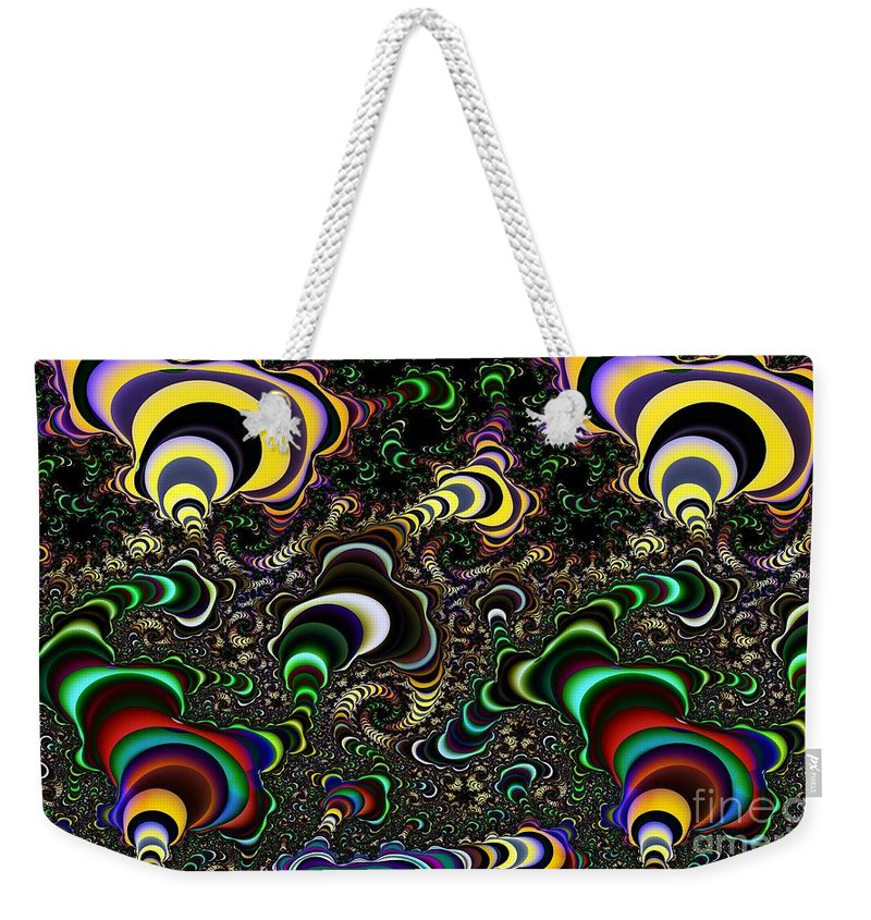 Torus Weekender Tote Bag featuring the digital art Torus Spirals by Ron Bissett