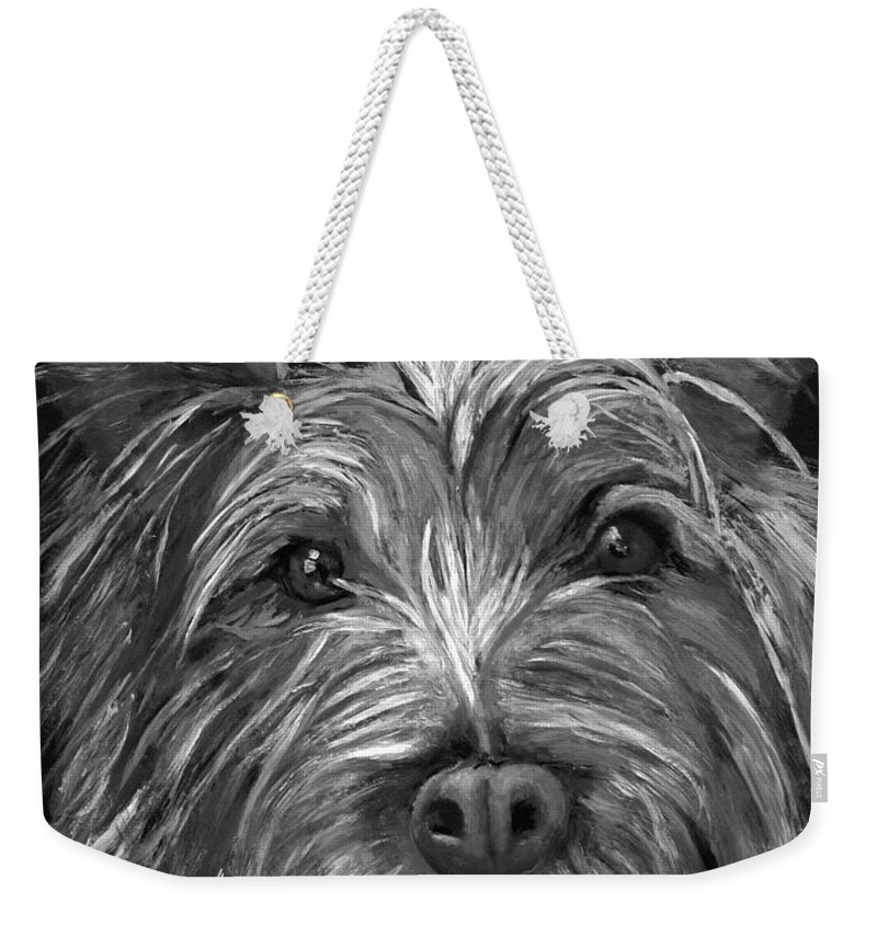 Dogs Weekender Tote Bag featuring the painting Tosha The Highland Terrier by Portraits By NC