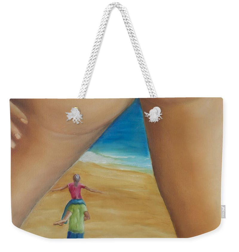 Thong Weekender Tote Bag featuring the painting Total Happiness by Marcel Quesnel