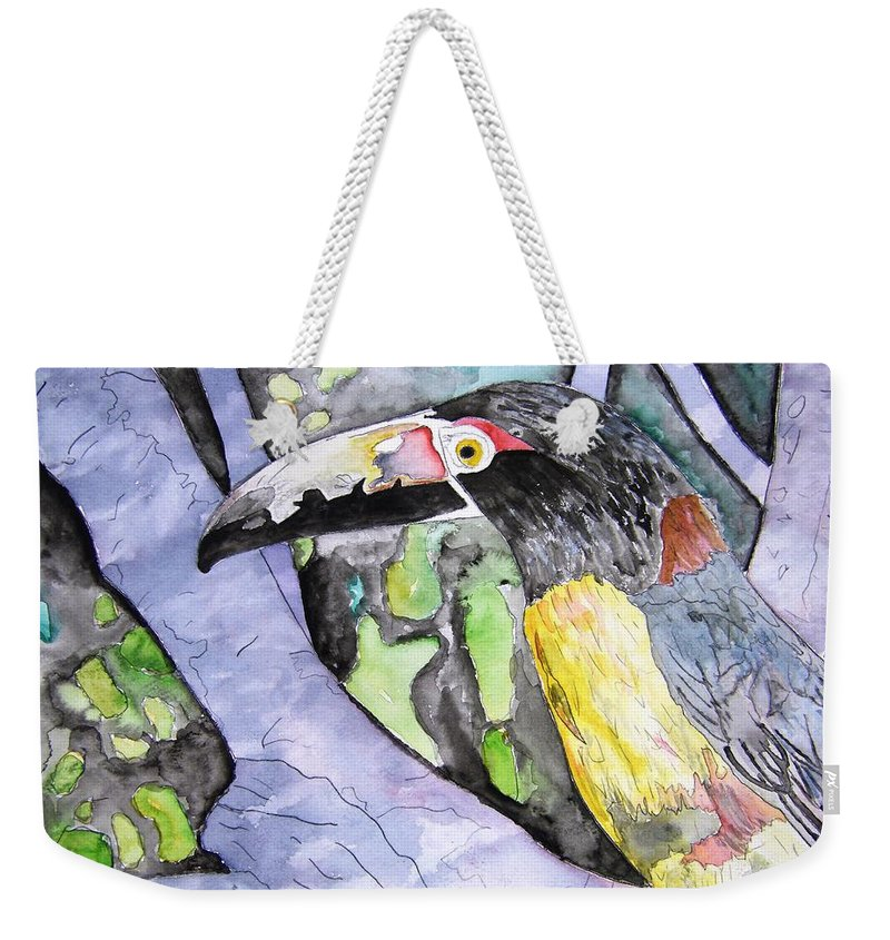 Touccan Weekender Tote Bag featuring the painting Toucan Bird Tropical Painting Fine Modern Art Print by Derek Mccrea