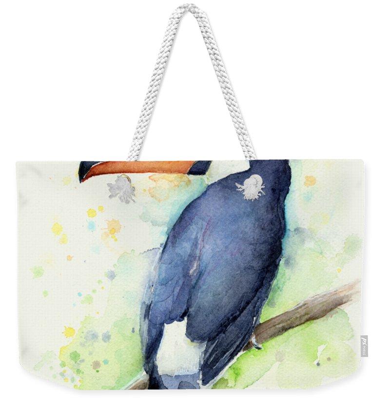 Watercolor Toucan Weekender Tote Bag featuring the painting Toucan Watercolor by Olga Shvartsur