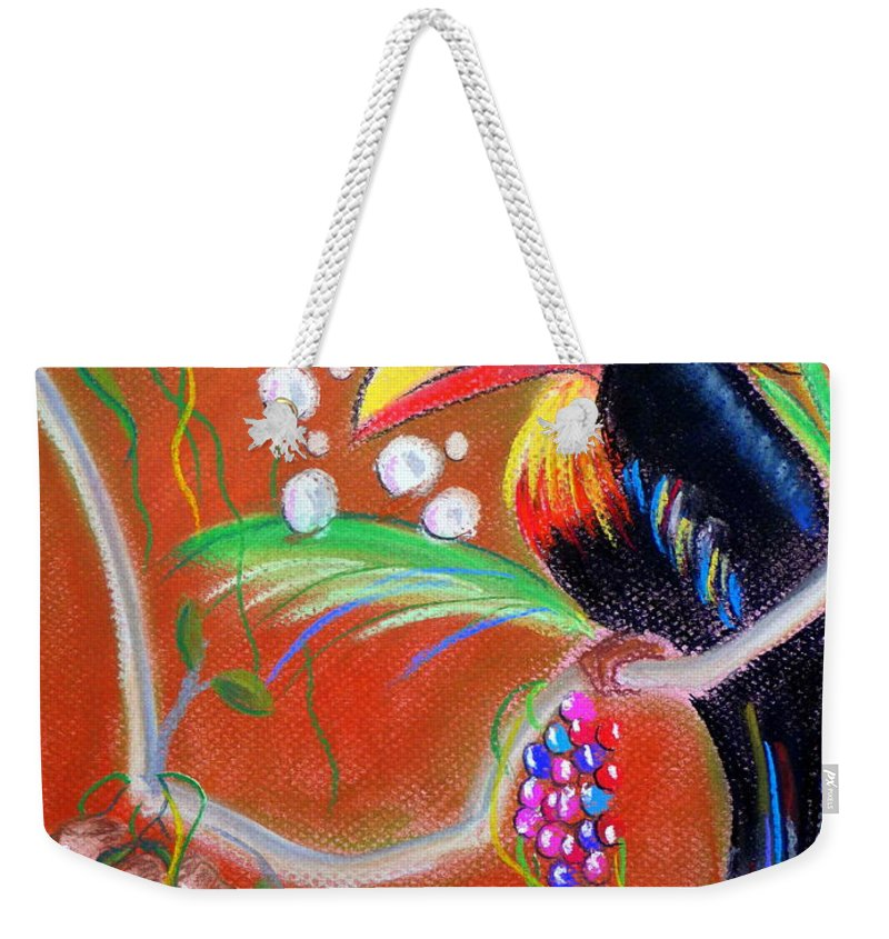 Fantasy Weekender Tote Bag featuring the pastel Toucanwine Bird by Jo Hoden