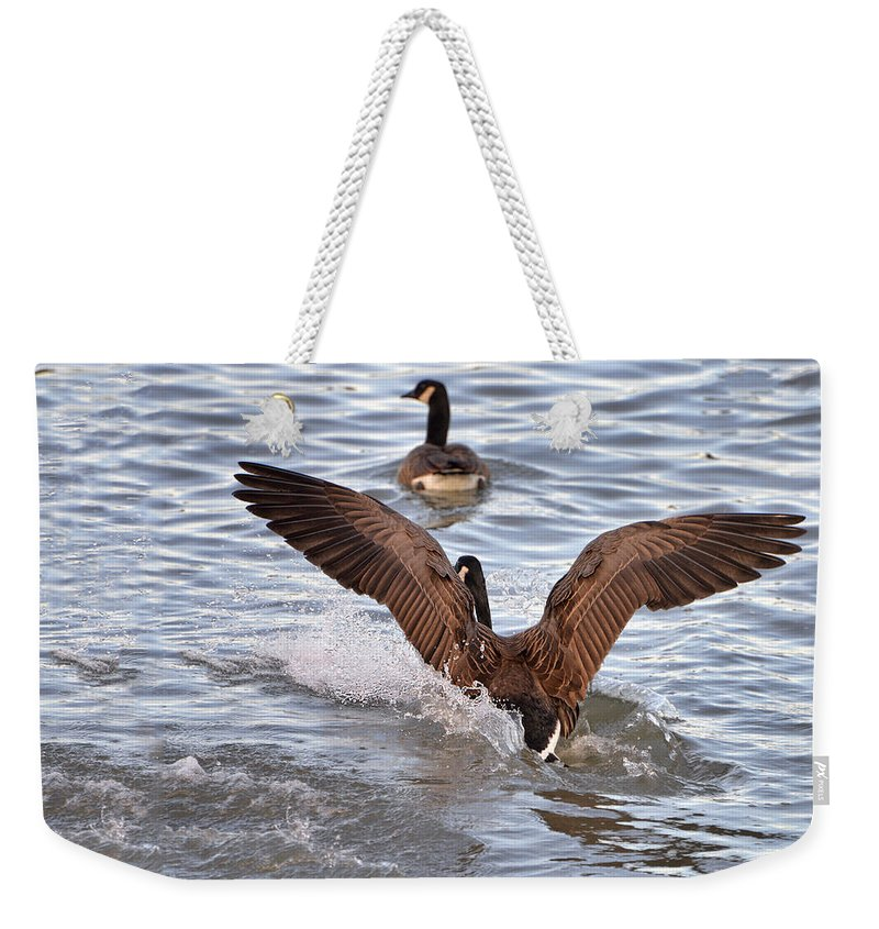Goose Weekender Tote Bag featuring the digital art Touch Down by Anita Hubbard