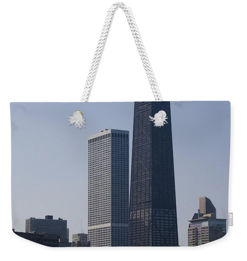 Chicago Windy City Skyscraper Building High Tall Big Blue Sky Urban Metro Weekender Tote Bag featuring the photograph Touching The Sky by Andrei Shliakhau