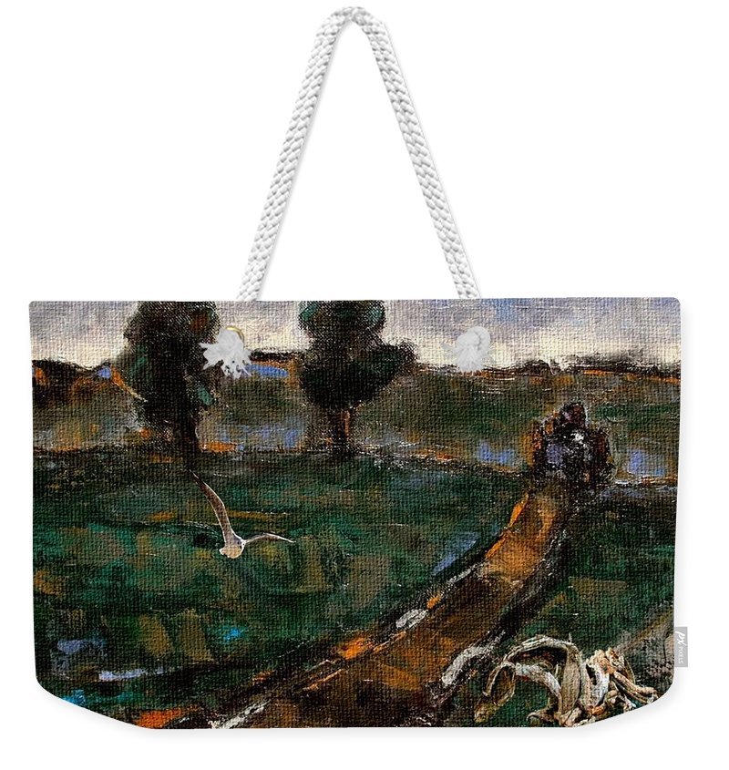 Weekender Tote Bag featuring the mixed media Tough Time 2 by Pemaro