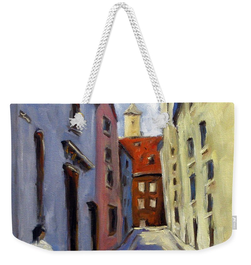 Urban Weekender Tote Bag featuring the painting Tour Of The Old Town by Richard T Pranke