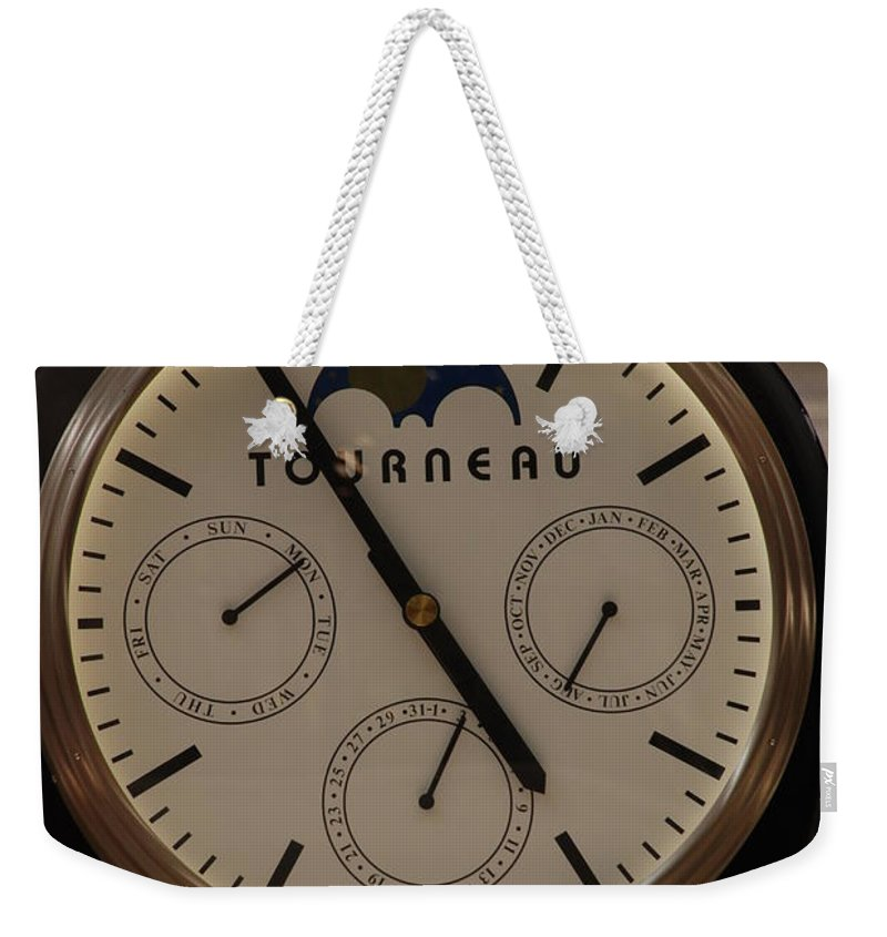 Clock Weekender Tote Bag featuring the photograph Tourneau by Rob Hans