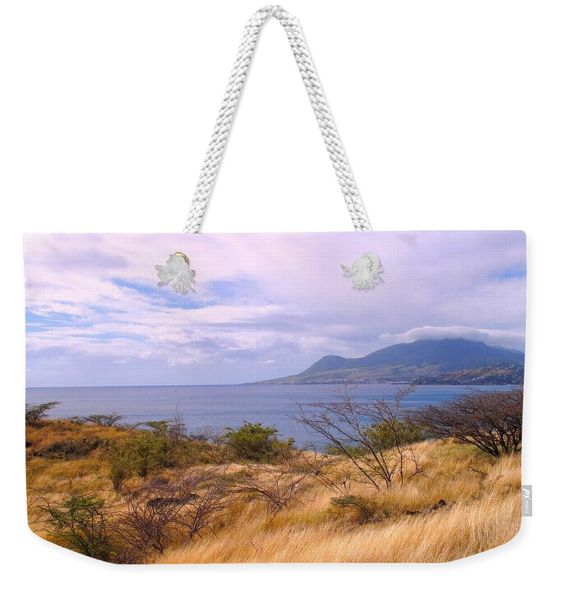 St Kitts Weekender Tote Bag featuring the photograph Towards Basseterre by Ian MacDonald