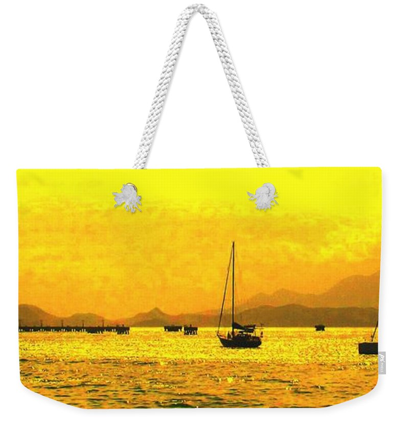 Basseterre Weekender Tote Bag featuring the photograph Towards Nevis by Ian MacDonald