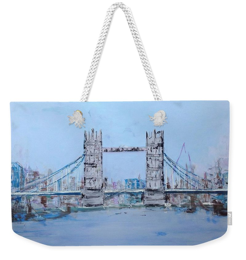 Landscape Weekender Tote Bag featuring the painting Tower Bridge by Didi Mx