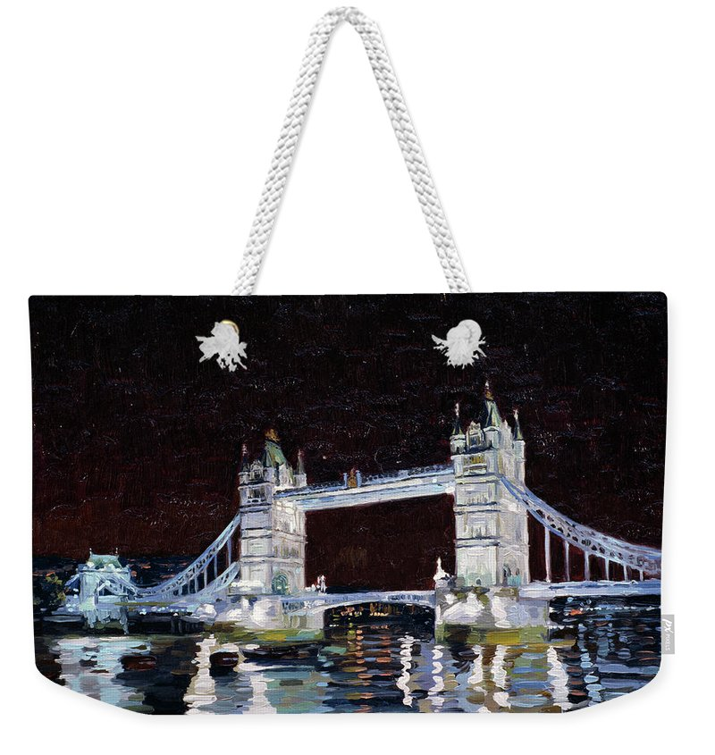 London Weekender Tote Bag featuring the painting Tower Bridge by Simon Kozhin