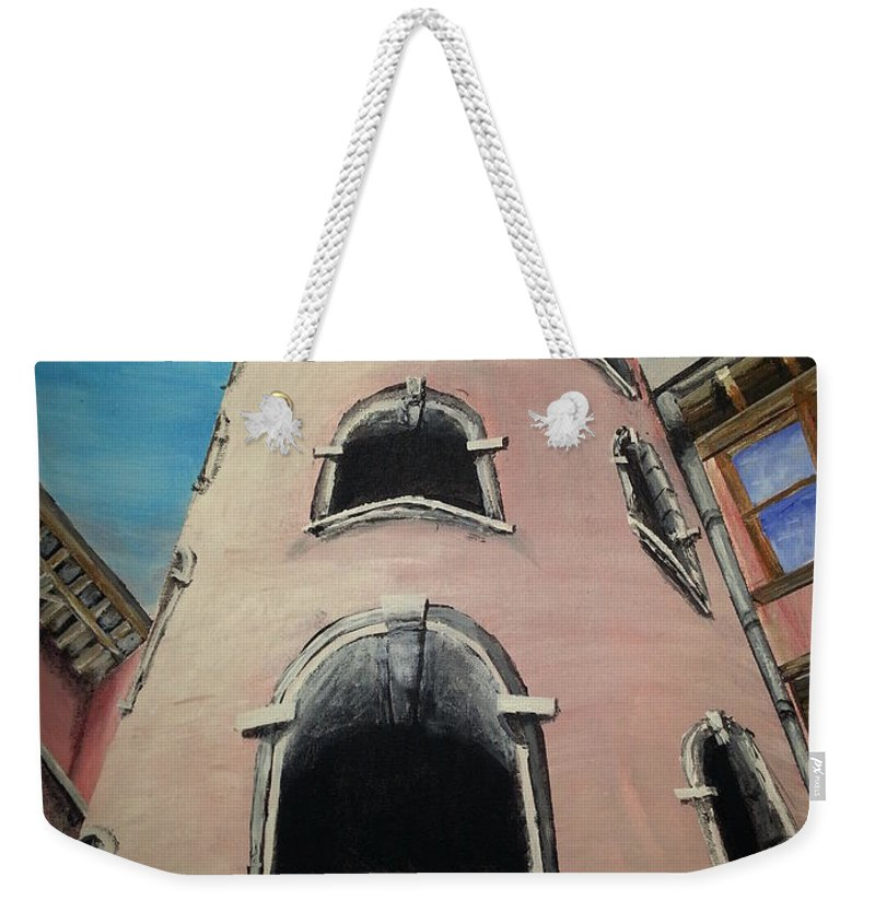 France; Lyon Weekender Tote Bag featuring the painting Tower In Lyon France Traboules by Irving Starr