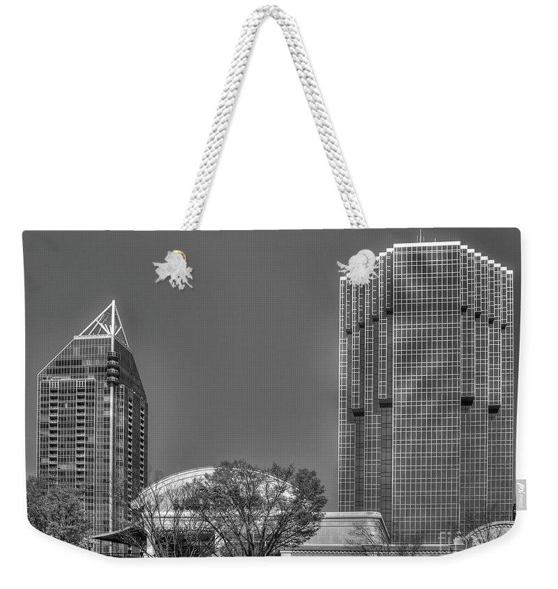 Reid Callaway Tower Place Weekender Tote Bag featuring the photograph Tower Place Stripped Buckhead Atlanta Art by Reid Callaway