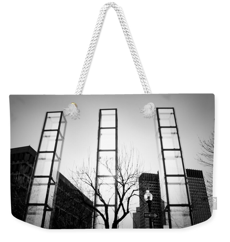 Black And White Weekender Tote Bag featuring the photograph Towers by Greg Fortier