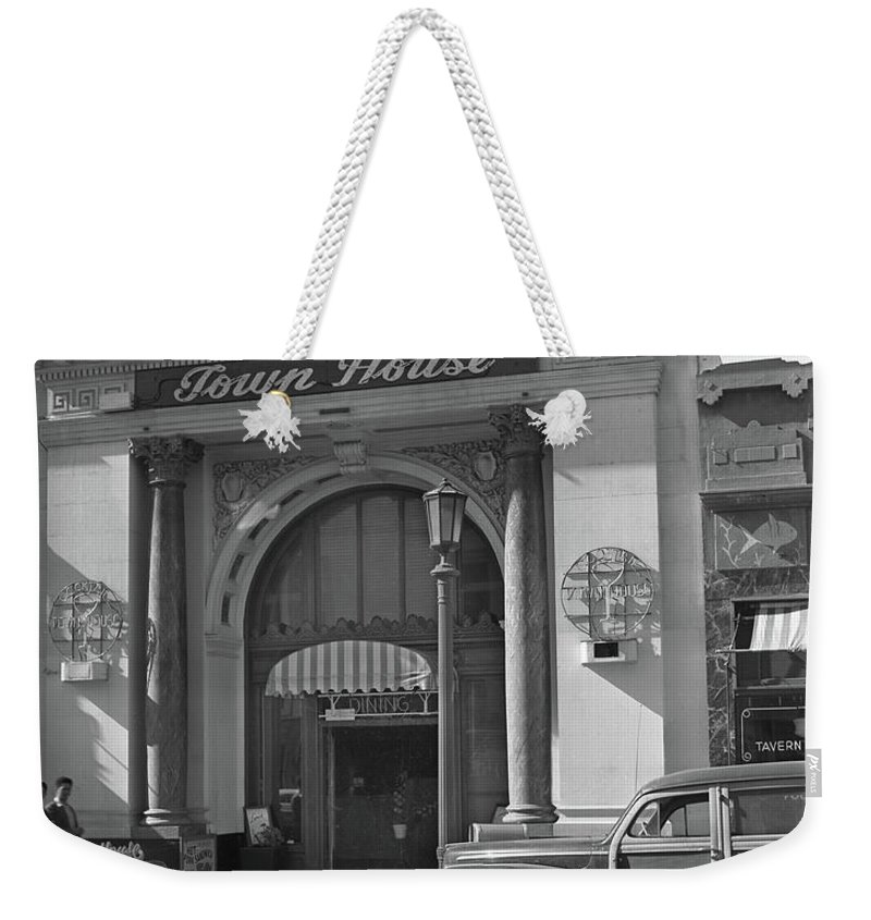 Woody Station Wagon Weekender Tote Bag featuring the photograph Town House And Woody Station Wagon, Alvarado Street - Monterey  by California Views Mr Pat Hathaway Archives