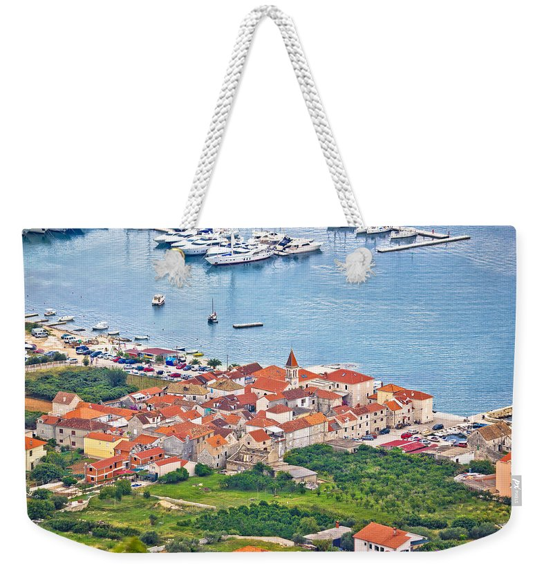 Seget Weekender Tote Bag featuring the photograph Town Of Seget Aerial View by Brch Photography