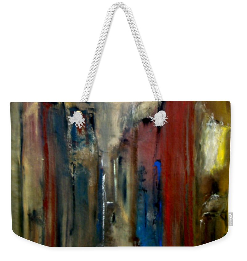 Abstract Weekender Tote Bag featuring the painting Town by Rome Matikonyte