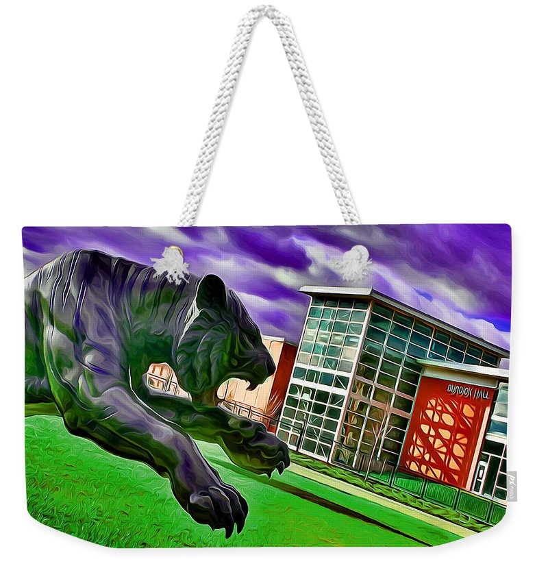 Towson University Weekender Tote Bag featuring the digital art Towson Tigers by Stephen Younts