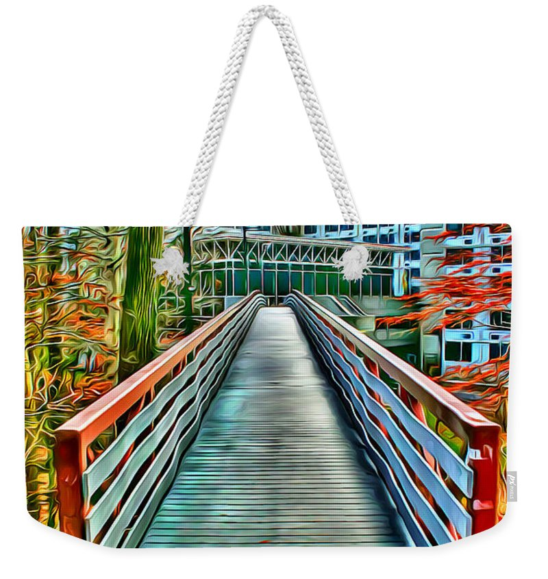 Towson University Weekender Tote Bag featuring the digital art Towson University Walkway by Stephen Younts