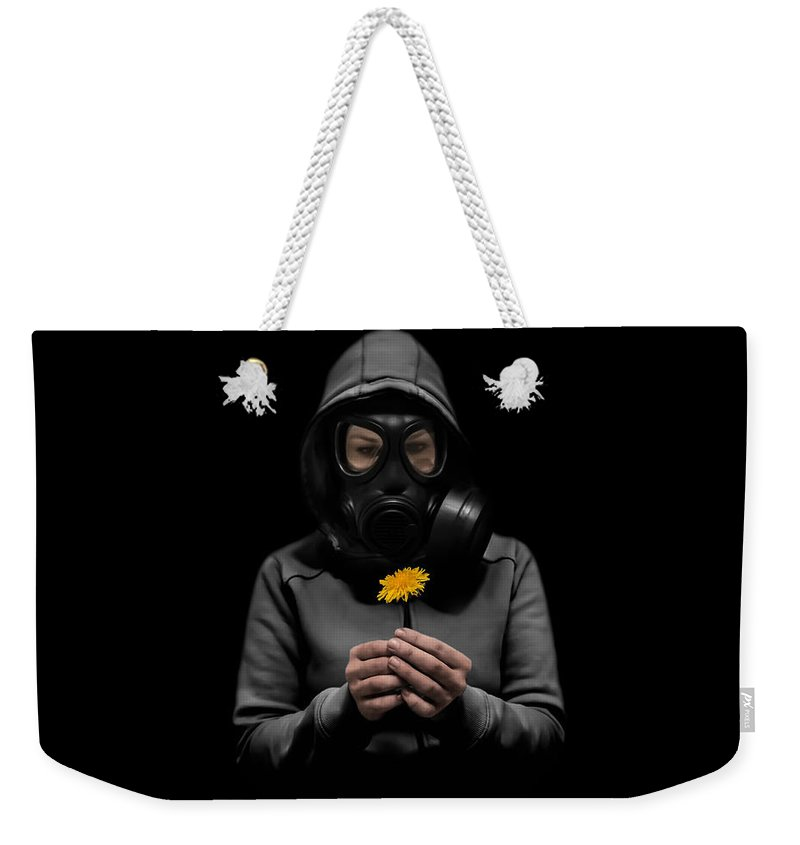 Gasmask Weekender Tote Bag featuring the photograph Toxic Hope by Nicklas Gustafsson
