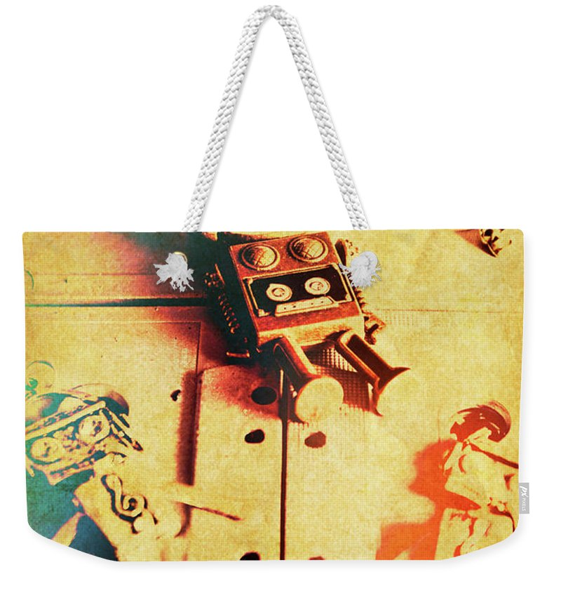 Retro Weekender Tote Bag featuring the photograph Toy Robots On Vintage Cassettes by Jorgo Photography - Wall Art Gallery