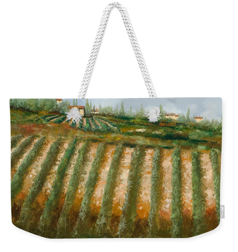 Vineyard Weekender Tote Bag featuring the painting Tra I Filari Nella Vigna by Guido Borelli