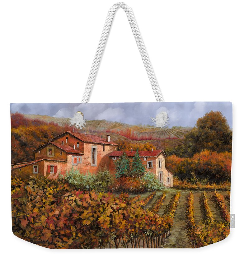Wine Weekender Tote Bag featuring the painting tra le vigne a Montalcino by Guido Borelli