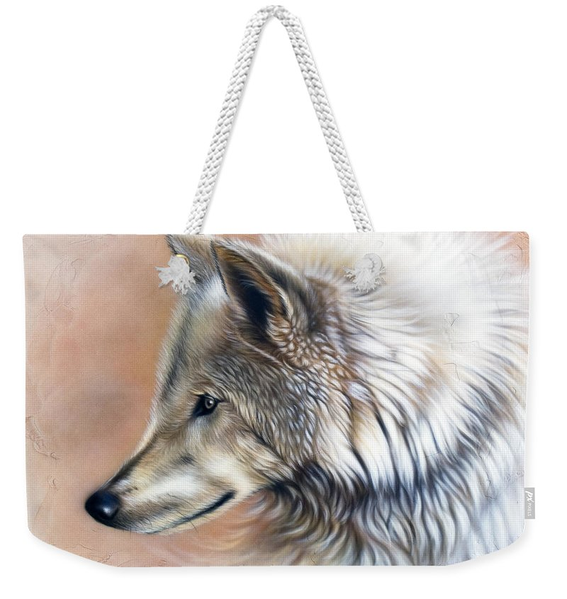 Wolves Weekender Tote Bag featuring the painting Trace IIi by Sandi Baker