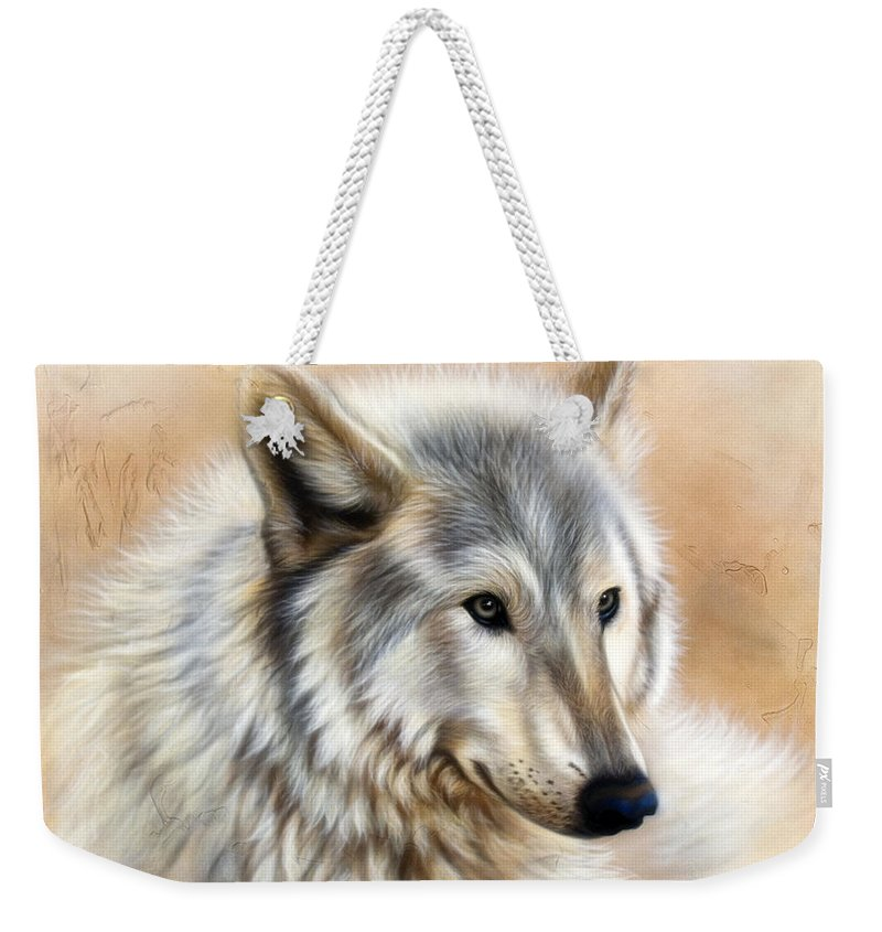Acrylic Weekender Tote Bag featuring the painting Trace by Sandi Baker