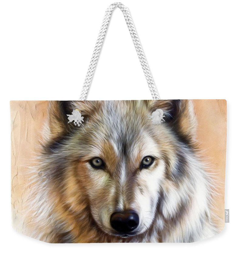 Wolves Weekender Tote Bag featuring the painting Trace Two by Sandi Baker