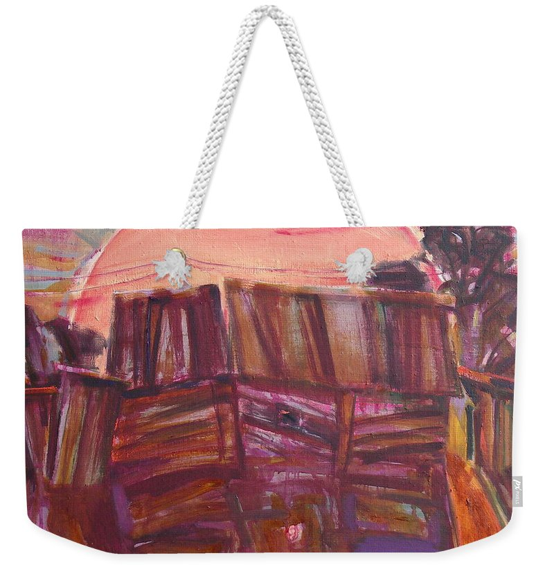 Oil Weekender Tote Bag featuring the painting Tracks by Sergey Ignatenko