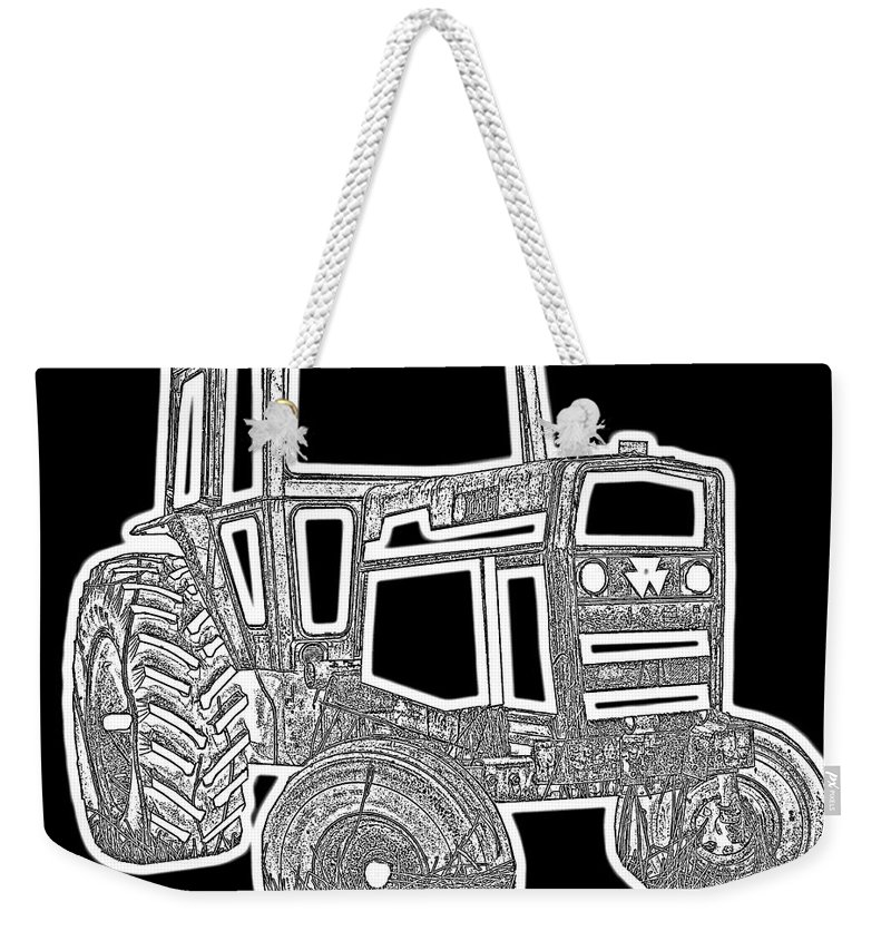 Barn Weekender Tote Bag featuring the photograph Funky Tractor Graphic Pen Ink by Edward Fielding
