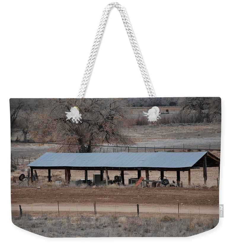Architecture Weekender Tote Bag featuring the photograph Tractor Port On The Ranch by Rob Hans